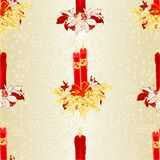 Seamless texture Christmas red candlelights with bows  and poinsettia vintage vector illustration editable hand Stock Image