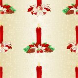 Seamless texture Christmas red candlelights with pine cones and bows and poinsettia vintage vector illustration editable Royalty Free Stock Photos