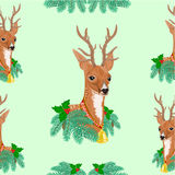 Seamless texture Christmas reindeer vector Royalty Free Stock Photos