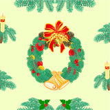 Seamless texture Christmas Wreath  with bells vector Royalty Free Stock Image
