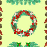 Seamless texture christmas wreath and pine cones vector Royalty Free Stock Image