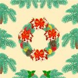 Seamless texture christmas wreath vector Royalty Free Stock Photo