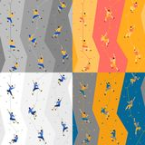 Seamless pattern with climbers on climbing wall. Seamless texture with climbers on climbing wall, on colored background Royalty Free Stock Photos