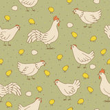 Seamless texture with cocks, hens and chicks. Seamless pattern can be used for wallpaper, pattern fills, web page background,surface textures. Gorgeous Stock Photo