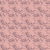 Seamless texture with cocoa fruits and cocoa leaves. Cocoa fruit on a brown background. Pattern for packaging cocoa and Royalty Free Stock Photos