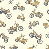 Seamless texture with color mopeds 2. Seamless texture with color scooters on a brown background Royalty Free Stock Photography