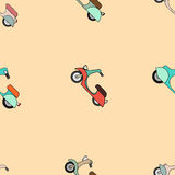Seamless texture with color scooters Royalty Free Stock Photos