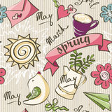 Seamless texture of the color of spring doodles. Royalty Free Stock Photos