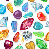 Seamless texture of colored gems. Tones isolated on white background. Vector Illustration, EPS8 royalty free illustration