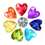 Seamless texture of colored heart cut gems isolated on white background stock illustration