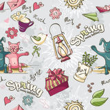 Seamless texture of colored spring doodles on a gray background stock illustration