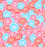 Seamless Texture with Colored Sweets, Swirl Lollipops Royalty Free Stock Image