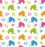 Seamless Texture with Colorful Cartoon Elephants Stock Photo