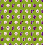 Seamless Texture with Colorful Cats and Skulls for Halloween Royalty Free Stock Photos