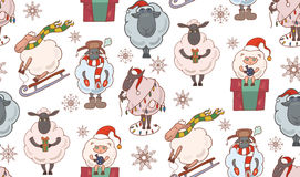 Seamless texture with colorful Christmas cartoon sheep. Royalty Free Stock Images