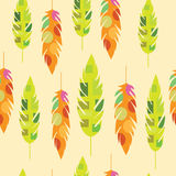 Seamless texture with colorful feathers Stock Images