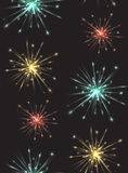 Seamless texture with colorful fireworks. For your creativity Royalty Free Stock Photography