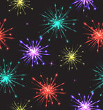 Seamless texture with colorful fireworks. For your creativity Royalty Free Stock Images