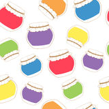 Seamless texture of colorful jam jars. Stock Photography