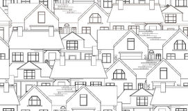 Seamless texture with contour country houses. Vector background for your creativity Stock Image