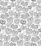 Seamless texture with contours of the doodle hearts Stock Image