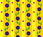 Seamless texture. Cornflowers , floral pattern , yellow background, blue flowers , vector illustration Stock Photography