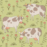 Seamless texture with cows, bull and flowers in th Stock Image