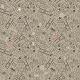 Seamless texture for crazy party in hand draw style Royalty Free Stock Photos