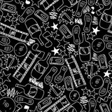Seamless texture for crazy party in hand draw style. Vector illustration Royalty Free Stock Photo