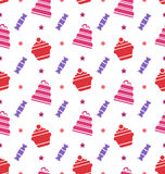 Seamless Texture with Cupcakes, Cakes and Candies Stock Image