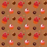 Seamless texture  - cupcakes and chocolate Sweets Stock Image