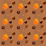 Seamless texture  - cupcakes and chocolate Sweets Stock Photo