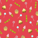 Seamless texture cupcakes Stock Photos