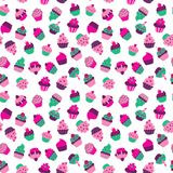 Seamless texture with cupcakes on a white background royalty free illustration