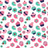 Seamless texture with cute birds cupcakes and flowers stock illustration