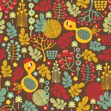 Seamless texture with cute birds of fall. Vector background Royalty Free Stock Photography