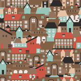 Seamless texture with cute european houses on streets. Vector illustration Royalty Free Stock Photo