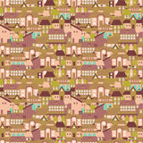 Seamless texture with cute european houses on streets Royalty Free Stock Photo