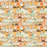 Seamless texture with cute european houses on streets. Vector illustration Stock Images