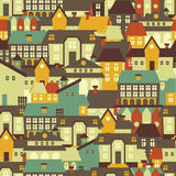 Seamless texture with cute european houses on streets. Vector illustration Stock Image