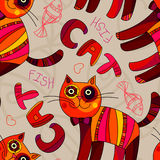 Seamless texture with cute funny cartoon cats and. Fishes, Seamless pattern with Cat and Fish lettering. Funny children seamless pattern. Pets background Stock Photography