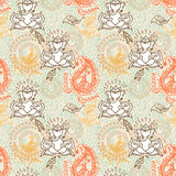 Seamless texture with cute ganesha and beautiful paisley ornament Stock Photos