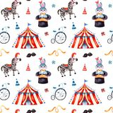 Seamless Texture with cute little bunny in a hat,zebra,circus tent,ribbon,bike. stock photos