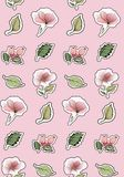 Seamless texture. Cute stickers of flowers on a delicate pink background. stock illustration