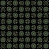 Seamless texture with 3D rendering abstract fractal green pattern. On a black background for fabric design Royalty Free Stock Image
