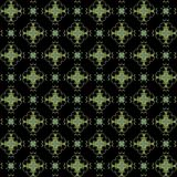 Seamless texture with 3D rendering abstract fractal green pattern. On a black background for fabric design Stock Photography