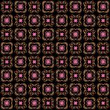 Seamless texture with 3D rendering abstract fractal pink pattern. On a black background for fabric design Royalty Free Stock Photos