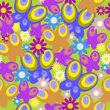 Seamless texture with daisies and butterfly Stock Photos