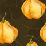 Seamless texture on a dark brown background. Yellow pumpkin and branches. watercolor. autumn vector illustration