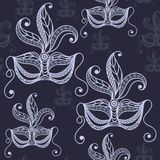Seamless texture with decorative mask 28. Seamless pattern texture with abstract decorative mask symbol of the carnival in Venice. Vector illustration Stock Photography